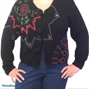 Vintage Beaded button up Cardigan Size M
